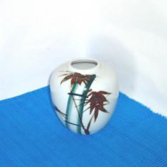 Superba vaza portelan japonez, pictata manual sub smalt - Bambus - Japonia