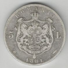 5 LEI 1881 DOMN ARGINT STARE BUNA SPRE FOARTE BUNA - Moneda Romania