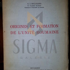 G. I. BRATIANU - ORIGINE ET FORMATION DE L'UNITE ROUMAINE, 1943 - Carte de colectie