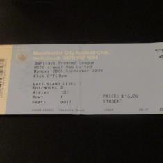 Bilet meci fotbal MANCHESTER CITY - WEST HAM UNITED (premier league 2009)