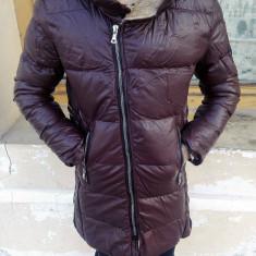 Geaca de piele barbati grena groasa de iarna Lunga IGA eco cu blana slim fit