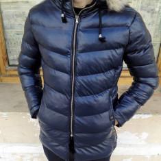 Geaca barbati de iarna groasa de piele eco Bleumarin cu blana slim fit fashion
