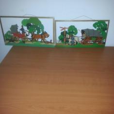 Lot 2 ornamente de perete handmade din placaj lemn