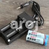 Set 2 Baterii Acumulator 3,7V Li-ion 8800 mAh 18650 + incarcator priza