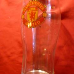 Pahar de apa suvenir Manchester United, h= 16 cm