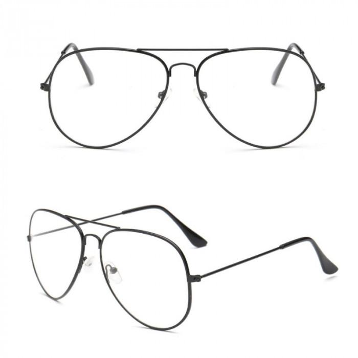 Ochelari lentila transparenta protectie model aviator negri + toc inclus