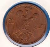 (R) MONEDA ROMANIA - 20 LEI 1930 CAROL II, STARE FOARTE BUNA, LUCIU DE BATERE