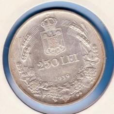 (R) MONEDA DIN ARGINT ROMANIA - 250 LEI 1939, REGELE CAROL II, LIVRARE IN CARTONAS - Moneda Romania