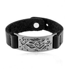 Brățară din piele artificială de culoare neagră, plăcuță din oțel gri-închis cu ornamente - Bratara piele