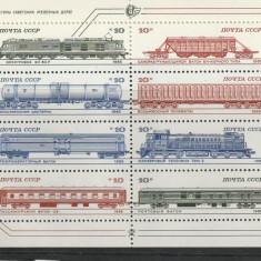 Trenuri locomotive si vagoane, URSS. - Timbre straine, Nestampilat