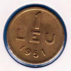 (R) MONEDA ROMANIA - 1 LEU 1951 CUPRU, STARE FOARTE BUNA, MAI RARA