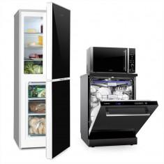 Klarstein Luminance Set frigider & congelator   cuptor cu microunde 900W 28L   mașină de spălat vase, No Frost, Numar usi: 2, Negru, 130-149 cm