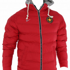 Geaca barbati Nike iarna FCSB Steaua - Gluga detasabila - Model NOU - 1226, Marime: XS, S, M, Culoare: Rosu