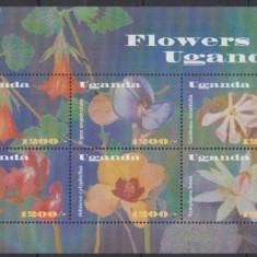 Uganda 2002 - Flori, bloc neuzat