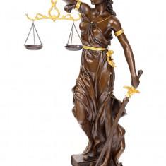 JUSTITIA MARE DIN BRONZ PE SOCLU DE MARMURA YB-255 - Metal/Fonta, Statuete