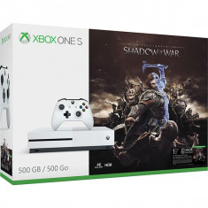 Consola Microsoft Xbox One Slim 500Gb Alb + Joc Shadow Of War (Download Code)