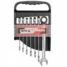 Set 7 chei combinate drepte cu clichet, 10-19mm, Yato YT-0208 - Cheie clichet