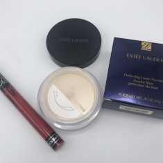 Pudra pulbere Estee Lauder Translucent + Ruj rezistent Kat Von D Rosu