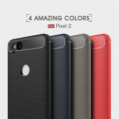 Bumper antișoc / Husa cu textura de carbon pentru Google Pixel 2 - Husa Telefon, Negru, Gel TPU