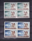 ROMANIA 1957 , LP 447 , LAIKA PRIMUL CALATOR IN COSMOS BLOCURI DE 4 TIMBRE  MNH, Nestampilat