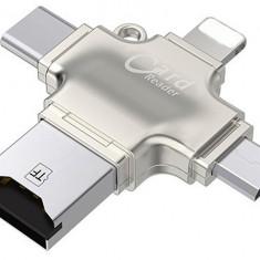 Card Reader iUni iDragon 4 in 1 Lightning, MicroUSB, Type-C si USB 3.0 pentru iPhone, iPad, iPod, Silver
