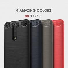 Bumper antișoc / Husa silicon cu textura de carbon pentru Nokia 8
