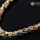 Set format din lanţ şi brăţară model bizantin din INOX placat cu aur de 18k