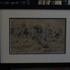 IOSIF STEURER -PEISAJ CU CASUTA - Pictor roman, Animale, Carbune, Altul