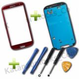 Sticla display fata rosie  pentru Samsung Galaxy S3 i9300 + adeziv kit scule