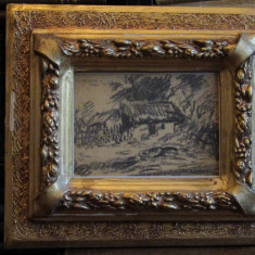 IOSIF STEURER -CASUTE IN LUMINA - Pictor roman, Peisaje, Carbune, Altul