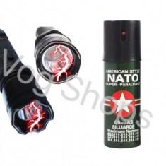 Lanterna-electrosoc + Spray NATO paralizant cu piper