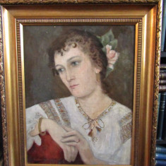 FATA CU IE (SFARSIT DE SEC . XIX) - Pictor roman, Portrete, Ulei, Altul