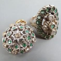 Inel si pandantiv din aur si argint cu diamante si smaralde - Set bijuterii aur