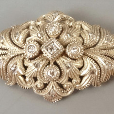 Brosa din argint si aur cu diamante - Brosa argint