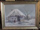 IONESCU DORU- CASA BATRANEASCA IN IARNA, Peisaje, Ulei, Altul