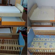 Patut lemn /Pat bebeTransformabil 140x70 + 2 saltele + 2 lenjerii lux brodat - Patut lemn pentru bebelusi, 140x70cm, Multicolor