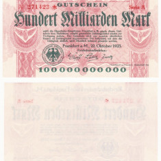 (1) BANCNOTA GERMANIA - CAILE FERATE FRANKFURT - 100 MILLIARDEN MARK 1923 - AUNC