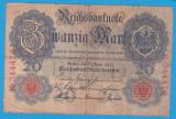 (1) BANCNOTA GERMANIA - 20 MARK 1910 (21 APRILIE) - SERIE DIN 6 CIFRE - MAI RARA