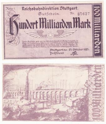 (2) BANCNOTA GERMANIA - REICHSBAHN STUTTGART - 100 MILLIARDEN MARK 1923 foto