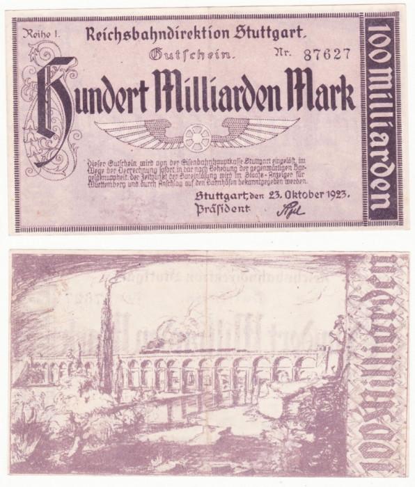 (2) BANCNOTA GERMANIA - REICHSBAHN STUTTGART - 100 MILLIARDEN MARK 1923