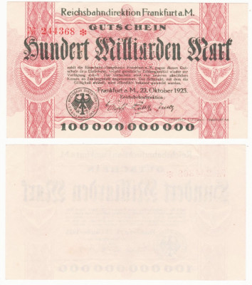 (1) BANCNOTA GERMANIA - CAILE FERATE FRANKFURT - 100 MILLIARDEN MARK 1923 - AUNC foto