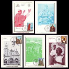 1970 Vatican - Vizita Papei in Australia si Filipine, 5 maxime cu stampila FDC, Europa, Religie