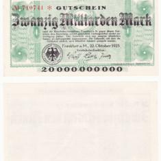 (1) BANCNOTA GERMANIA - CAILE FERATE FRANKFURT - 20 MILLIARDEN MARK 1923 - AUNC