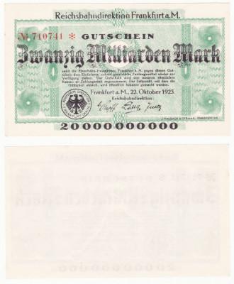 (1) BANCNOTA GERMANIA - CAILE FERATE FRANKFURT - 20 MILLIARDEN MARK 1923 - AUNC foto