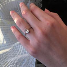 Inel de logodna din aur roz 18k - Inel aur, Culoare: Rosu
