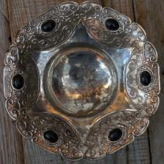 FARFURIOARA ADANCA PT. MASLINE - CONFECTIONATA DIN ANTIMONIU NICHELAT - VINTAGE! - Metal/Fonta, Vase