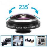 Lentila super fisheye 235 grade cu clips pentru telefoane mobile
