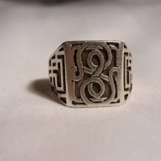 Inel argint SIGILIU oriental VECHI masiv SPLENDID ghiul SUPERB executat manual