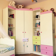 Mobila dormitor copii (dulap haine, pat, masuta birou) - Set mobila copii