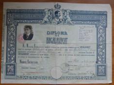 Liceul Nicolae Balcescu Braila 1933 diploma de bacalaureat cu timbre Carol II foto